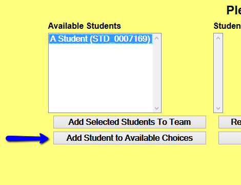 Add Student to List Button