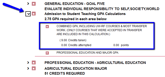 Shows where the combined GPA can be found on a student's degree audit report