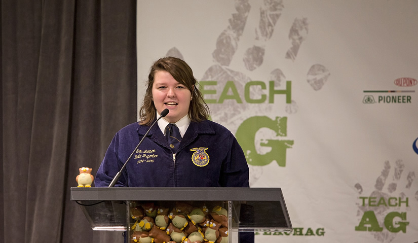 UWRF Ag Education major Erin Larson makes an introduction at the 2014 National Teach Ag Event