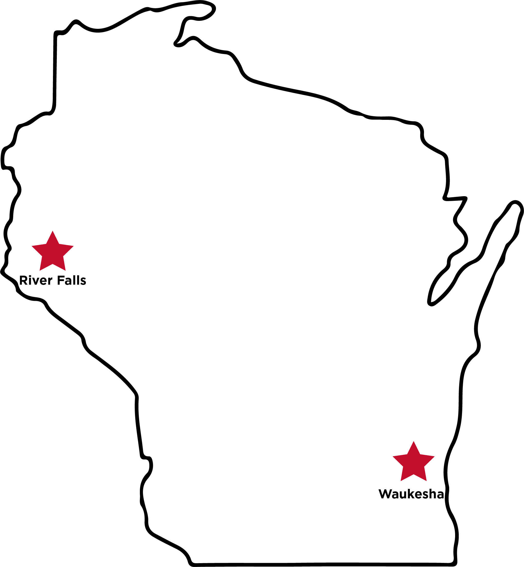 A map of UW-River Falls Montessori training sites in Wisconsin