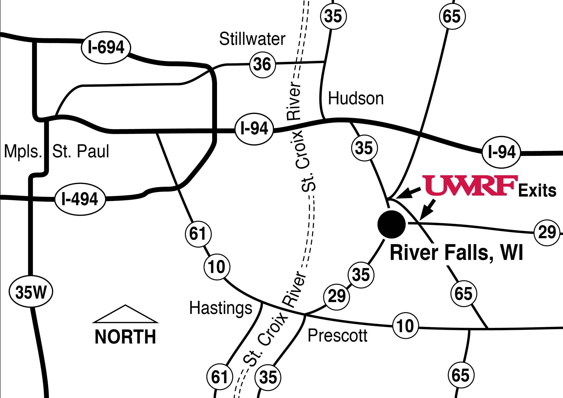 Map showing the distance from the Twin Cities to River Falls