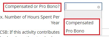 "6. Select whether it was ""Compensated"" or ""Pro Bono"""