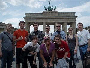 Students at the Brandenburg Gate in Berlin