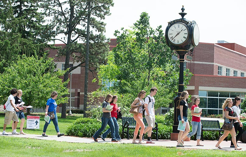 students on campus mall 062014