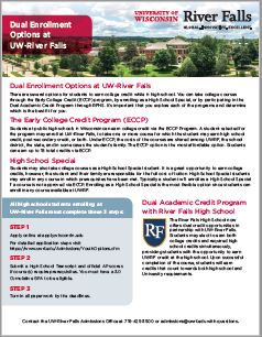 Dual Enrollment Options at UW-River Falls with River Falls High school