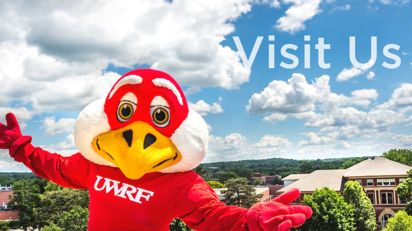 An image of Freddy Falcon from an aerial view with the UWRF campus behind him and text overlaying that reads