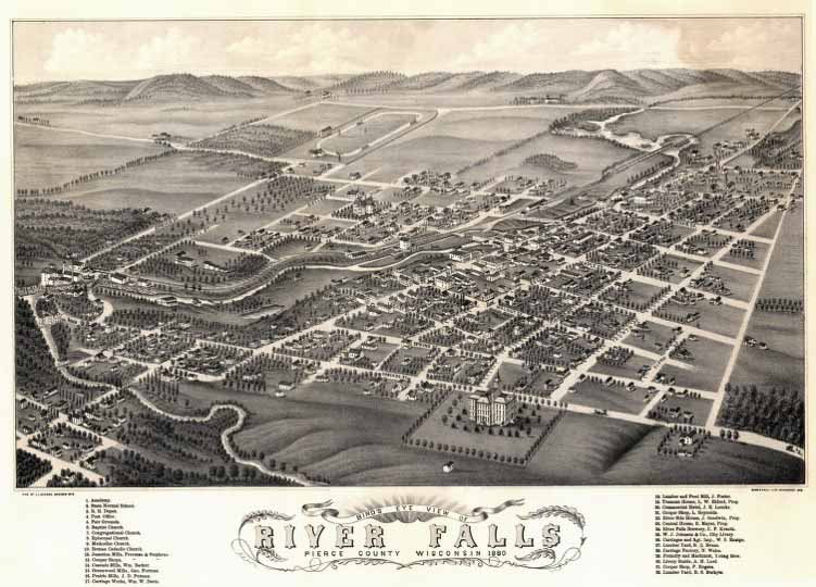 1880 Bird's-eye view of River Falls