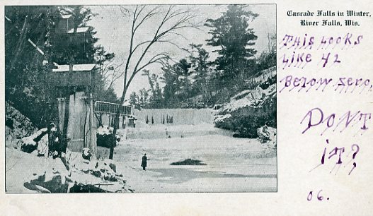 1906 view of a frozen Cascade Falls