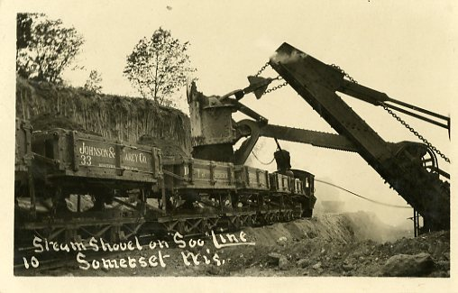 Steam shovel working on railroad construction near Somerset