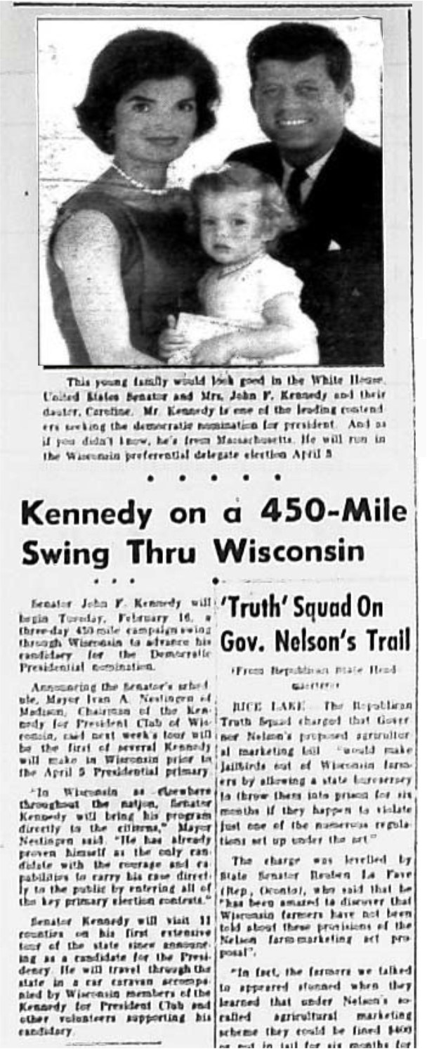 Kennedy on a 450 Mile Swing Through Wisconsin article from the New Richmond News, February 11, 1960