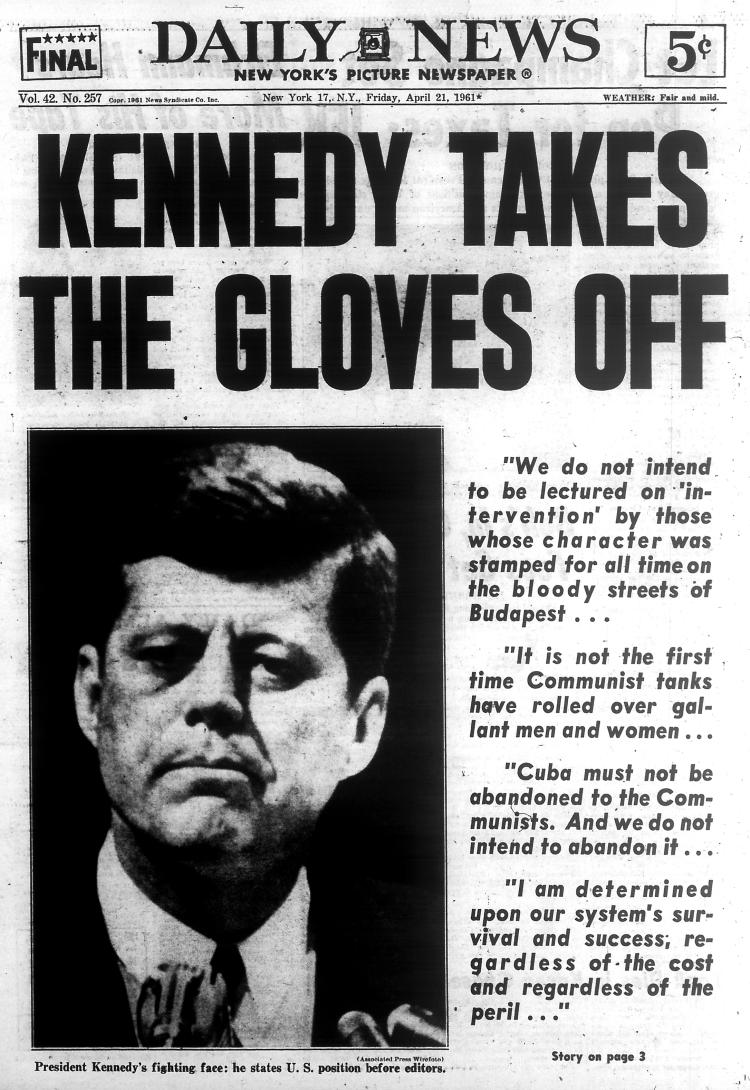 Bay of Pigs front page, April 21, 1961, NY Daily News