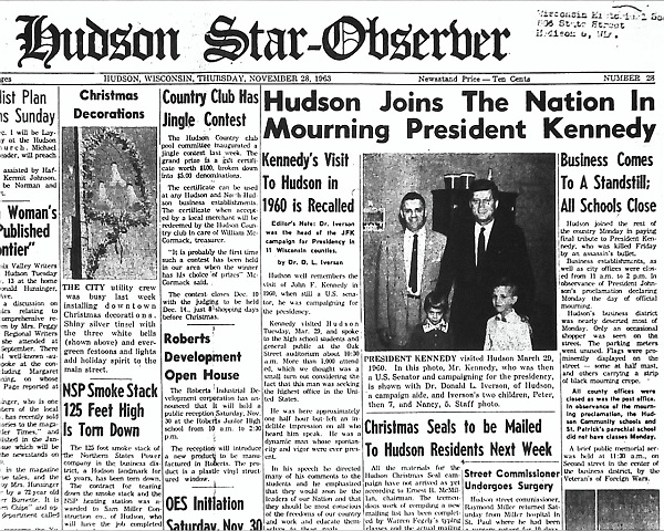Front page of the Hudson Star-Observer, November 28, 1963