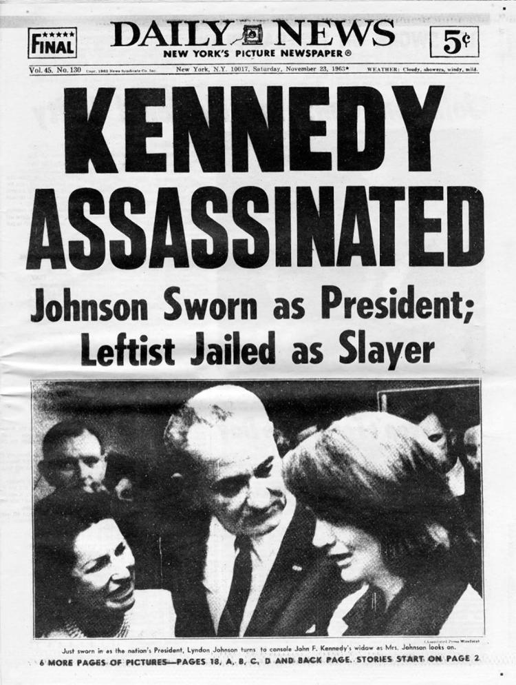 Kennedy Assassinated, New York Daily News headline on November 23, 1963