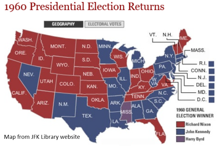 1960 Presidential Election Returns map