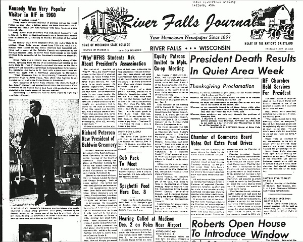 Front page of the River Falls Journal, November 28, 1963