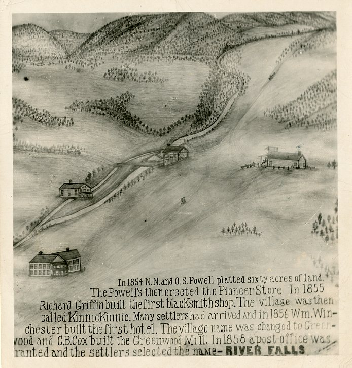 1854 hand-drawn map of the settlement that became River Falls