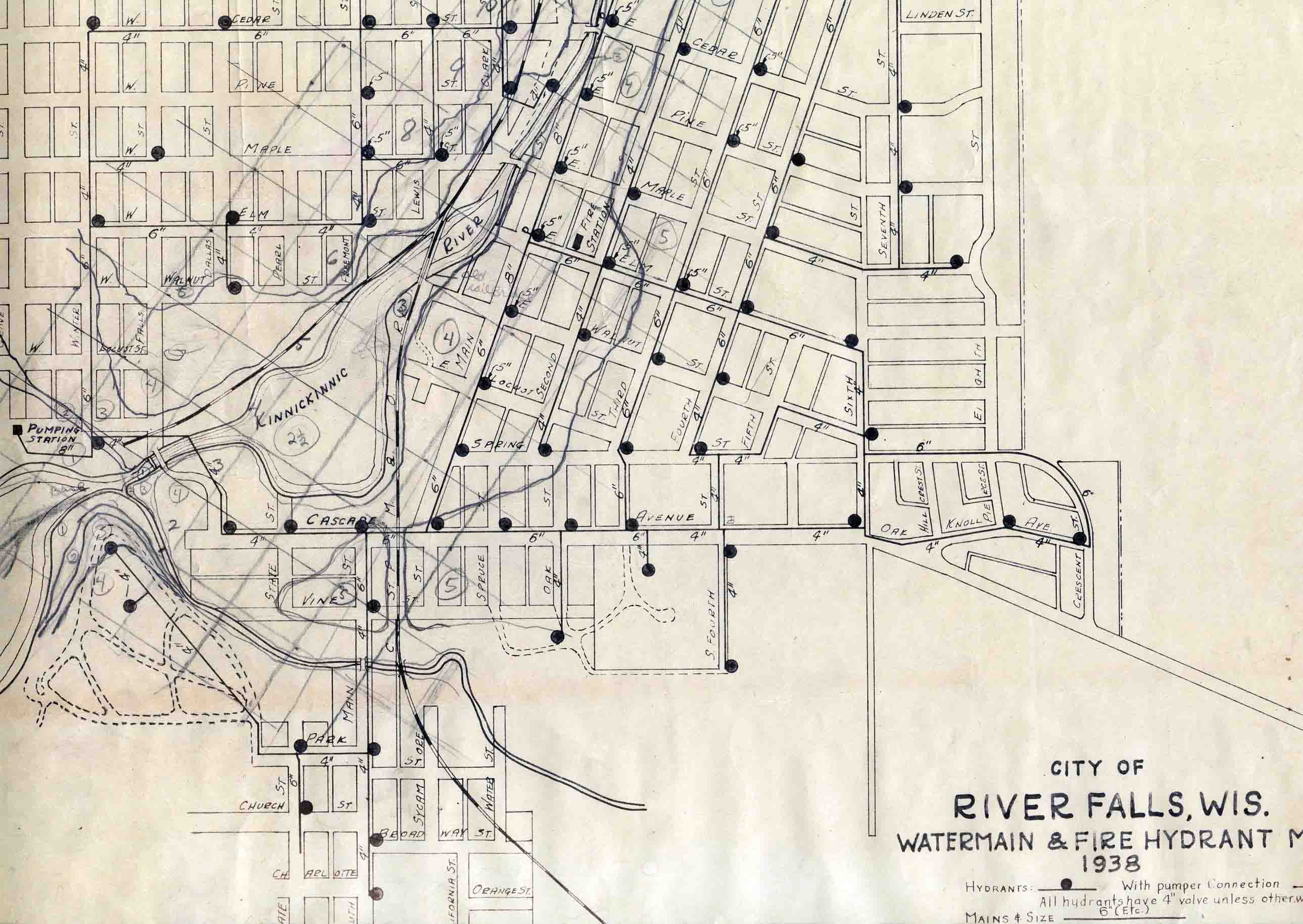 1938 Map of River Falls watermains and fire hydrants