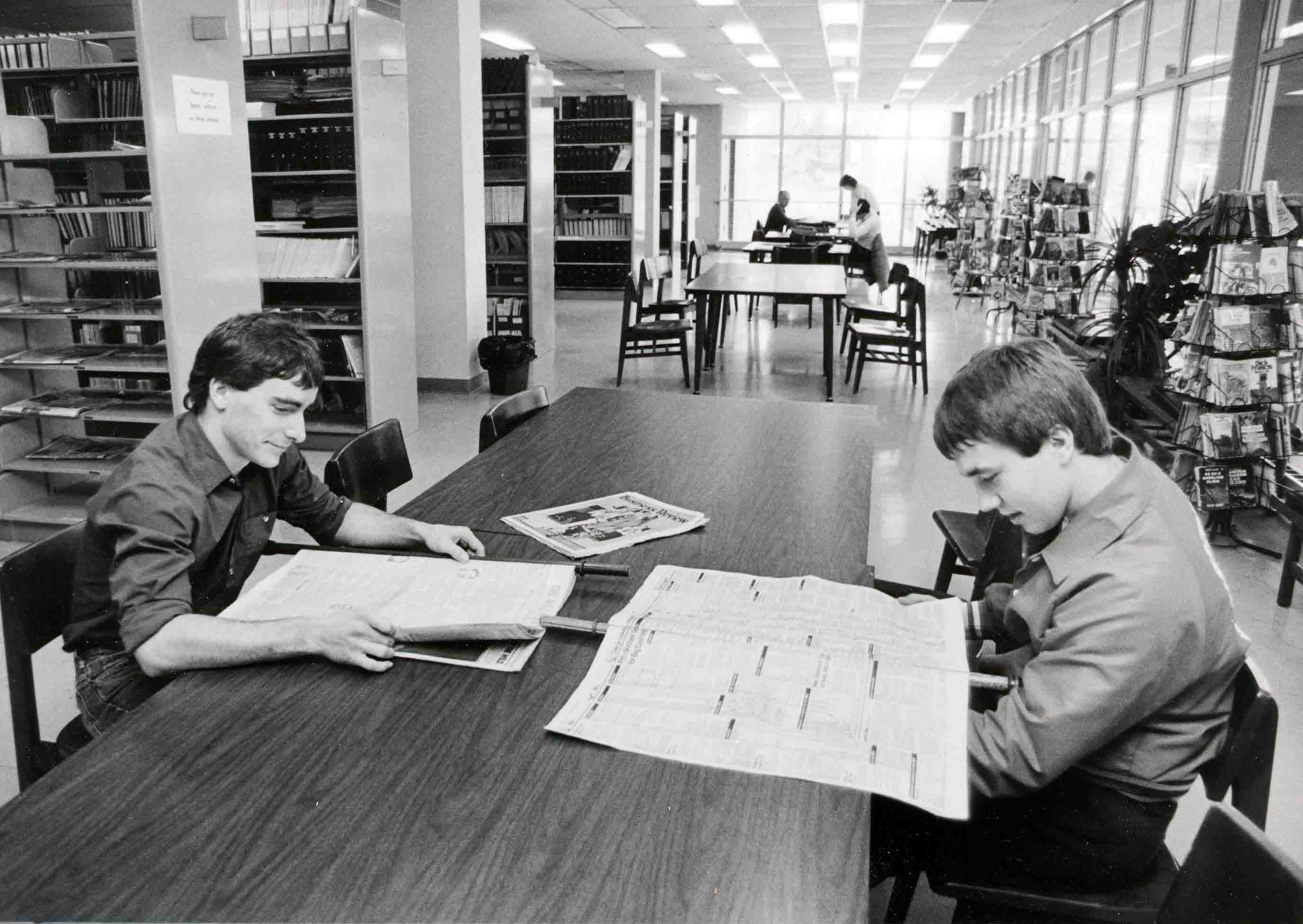 Students using library