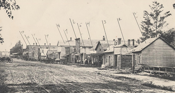 Main Street, River Falls, ca. 1870 (west side of Main Street facing south) Building ID List