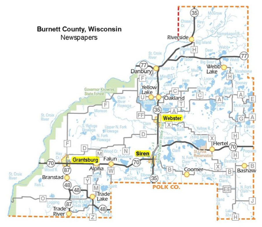 Villages in Burnett County with Newspapers
