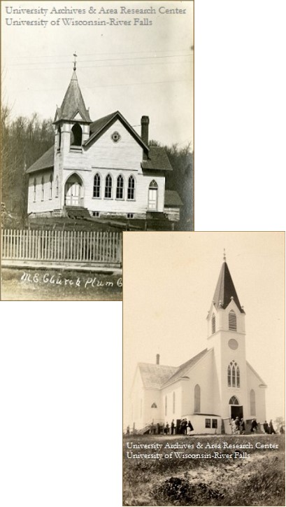 Image of two rural churches in Pierce County