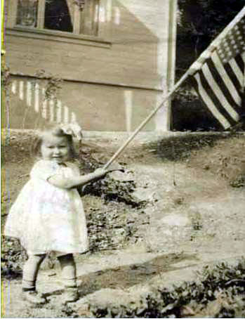 Girl with flag, Jacobs Photograph Collection