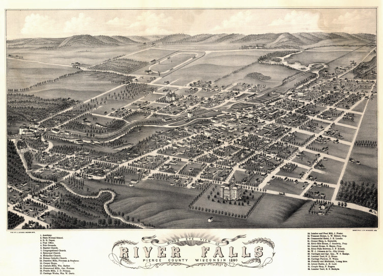 River Falls birds eye 1880
