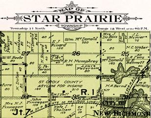 Star Prairie Township plat map 1914