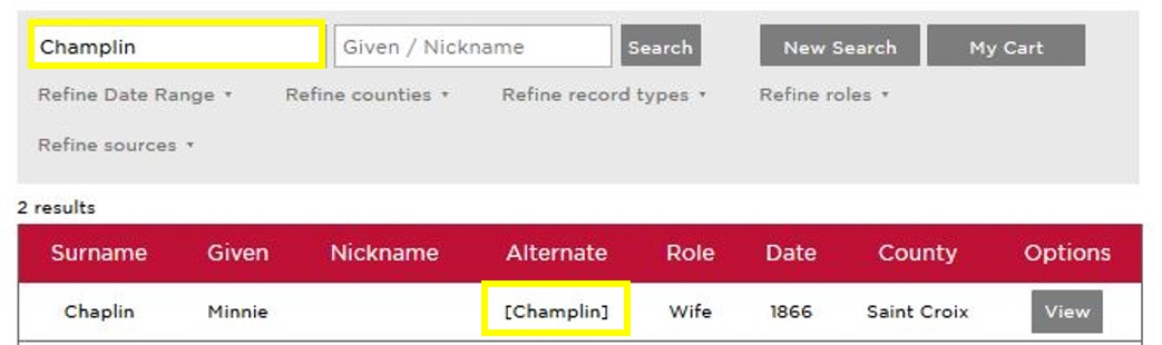 Surname results display