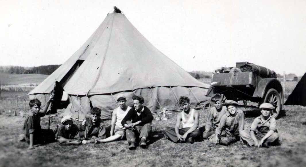 Boys and tent, Hoffman-Foley Photograph Collection