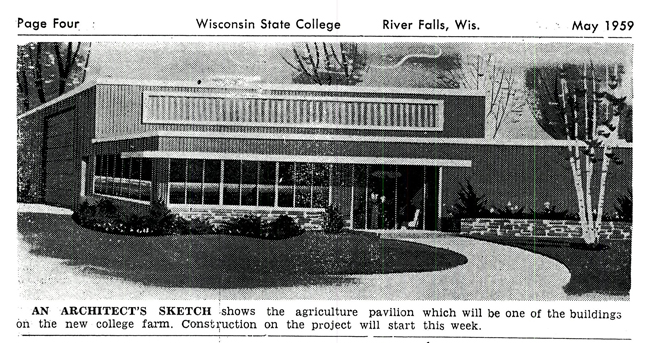 Artists rendition of new pavilion bldg (From College Countryman May 1959)