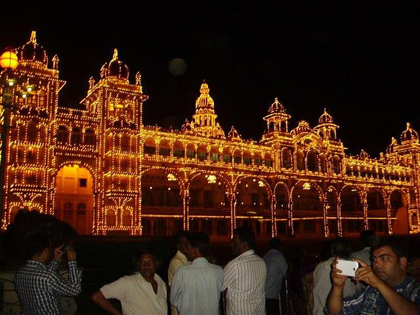 The Mysore Palace was a very large attraction in Mysore. However the real attraction was at night. The Mysore Palace was fitted with thousands of lights that were turned on for a brief time each night.