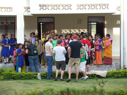 A few UWRF students talking to Indian students from an orphanage, one of the highlights of the trip for me.