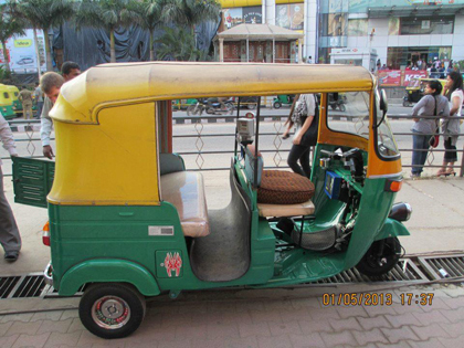 The India version of the taxi (called a tuk tuk), everyone must ride in one of these it is a blast!