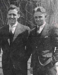 Two faculty, Melvin Wall and Thorvald Thoreson, when they were students at River Falls in 1934