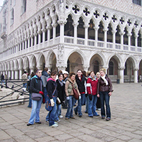 Students on tour at Doge's Palace in Venice, Italy with history professor Kiril Petkov