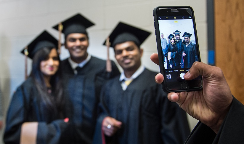 MBA Students taking a photo at Spring 2017 Commencement