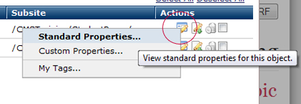 Actions View Standard Properties