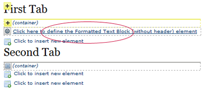 Tab Define Text Block