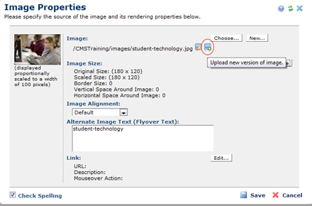 Upload New Version of an Image screen shot