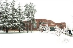 Wyman Education Building Winter Snow