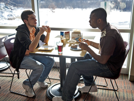 Students in Riverside Commons