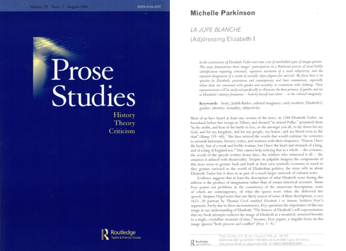 Prose Studies article by Michelle Parkinson