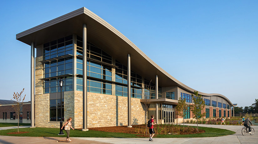Exterior View of Climbing Wall and Fitness Center Entrance