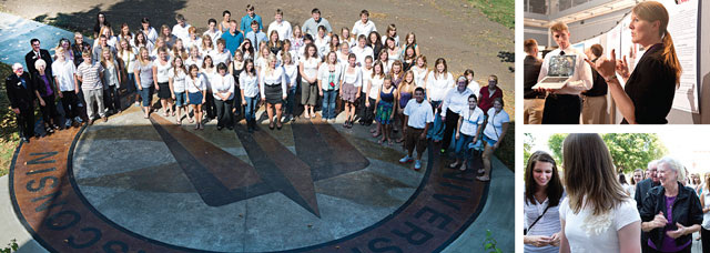 Falcon Scholars Collage: Group of Students Standing on University Seal Sidewalk