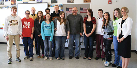 First District Congressman Tim Walz came to Tara Boldthen's advanced placement U.S. History class at Byron High School on February 10 and visited with the students about government. Photo by Gretta Becay. The Byron Review, Feb. 21, 2012