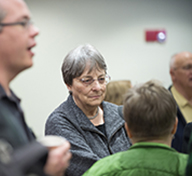 Dr. Kathleen Conzen, visits with guests at 2013 Edward N. Peterson Lecture