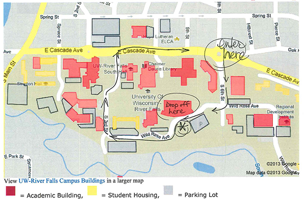 University Center drop-off map