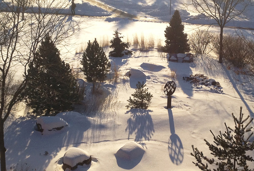 Long morning shadows in Dahlka Meditation Garden; view from third floor KFA History and Philosophy Department.