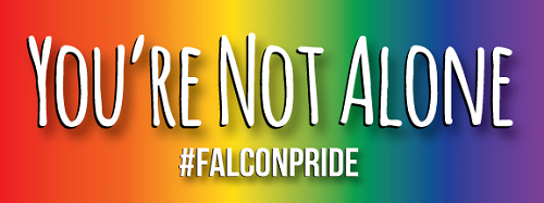 "This is a photo of the #FalconPride stickers. With a rainbow color background, the sticker says ""You're Not Alone #FalconPride"" in white letters."